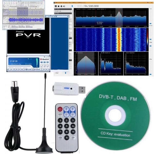 KIT Chiavetta USB SDR RTL2832U + R820T 24-1850MHz RF DVB-T AM FM DAB